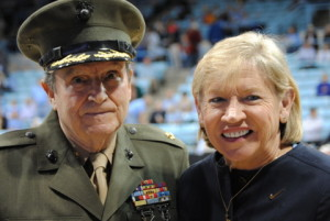 "Major Everett ""Bud"" Hampton, USMC Retired.  Iwo Jima survivor, career Marine, Carolina graduate, with Coach Slyvia Hatchell"